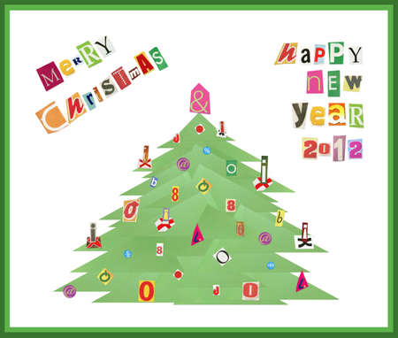 Artistic collage Merry Christmas & Happy New Year 2012 photo