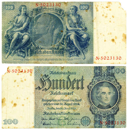 antiquary: Vintage former German collectible banknote - 100 Reishsmark (1935)