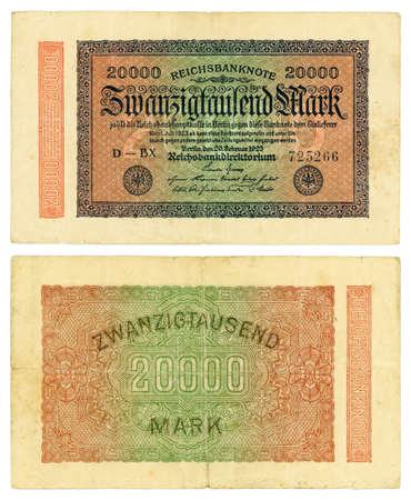antiquary: Vintage billetes antiguos de colecci�n alemana - 20000 Reishsmark (1923) Foto de archivo