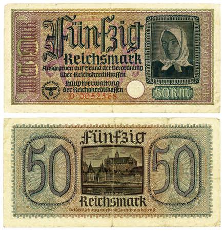german mark: Vintage former German collectible banknote - 50 Reishsmark