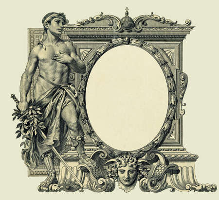 Vintage oval frame, based on 1910 engraving (copyright expired), old paper texture, isolated photo
