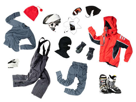 snowboard: The set of all necessary child skier clothes