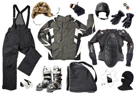 Die Menge aller notwendigen Männer Skifahrer Bekleidung und Accessoires für den Winter Spaß im Freien, über weißem Hintergrund Standard-Bild - 11597968