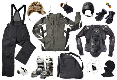 The set of all necessary men skier clothing and accessories for winter fun outdoors, isolated over white background