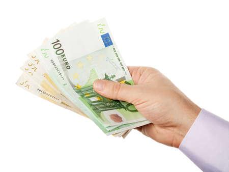 billets euros: Tas main tenant affaires de l'argent - Euros divers (Eur) billets de banque, isolé sur fond blanc