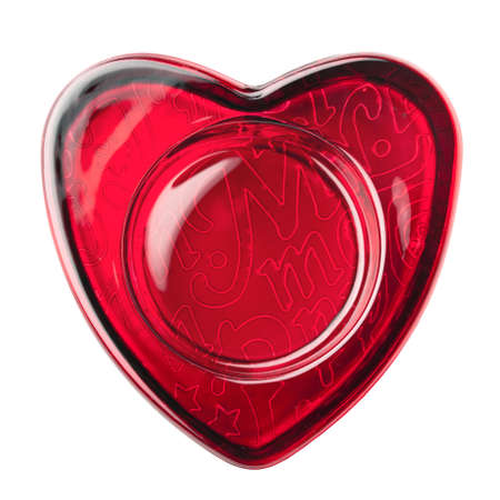 paperweight: Red heart frame made of glass, isolated over white background