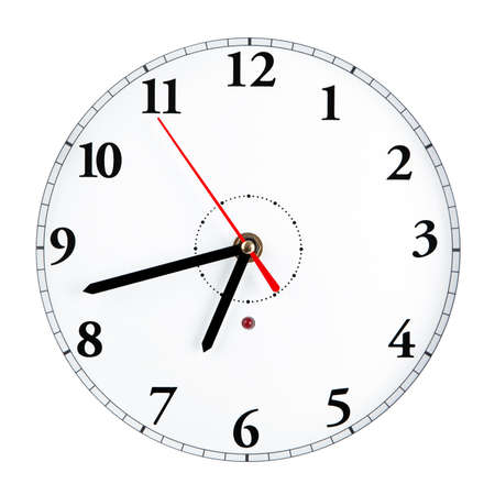 red evening: White clock face isolated