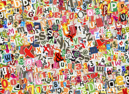 Colorful abstract collage background, made of digitally arranged newspapers and magazines letters handmade cutouts photo