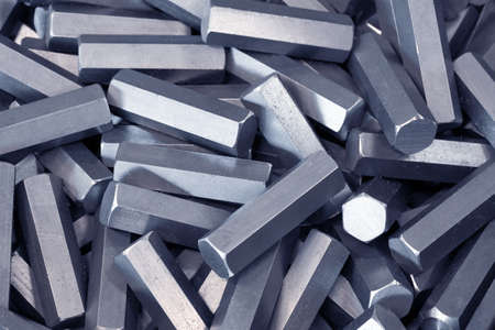 hard stuff: A pile of hexagon metal details Stock Photo