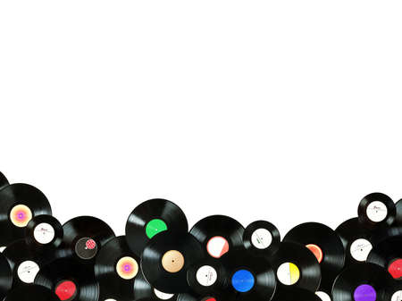 Abstract music colorful background made of vintage vinyl records, all labels are not real  designed by myself  photo
