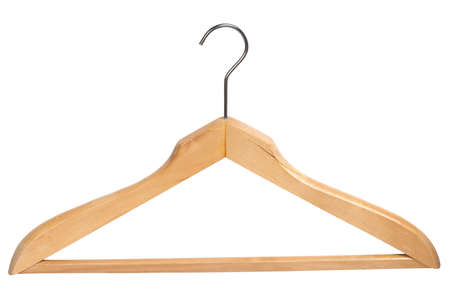 Wooden clothing hanger isolated over white background   photo