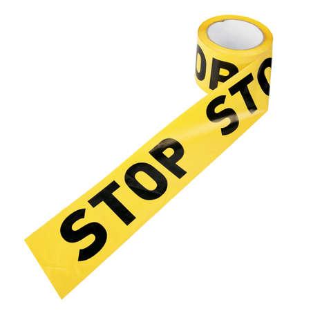 """investigación: El apool de precaución amarilla de plástico o de restricción de la cinta """"STOP"""" aislado sobre fondo blanco"""