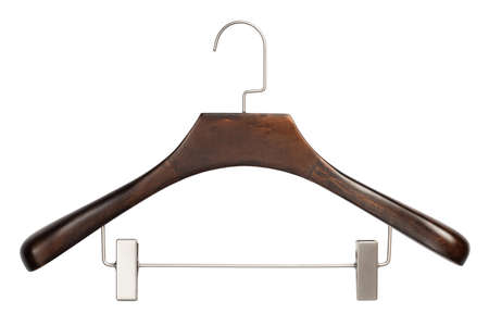 Closeup of brown wooden clothing hanger isolated over white background photo