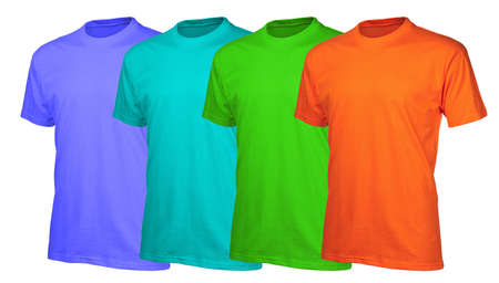 A set of four vibrant  vitamin  color cotton t-shirts isolated over white background photo