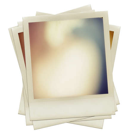 A pile of grungy blank instant film frame with abstract  color filling, isolated over white background, vintage hard grain effect added Stock Photo