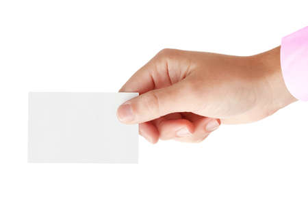 Hand of a businessman holding blank card photo