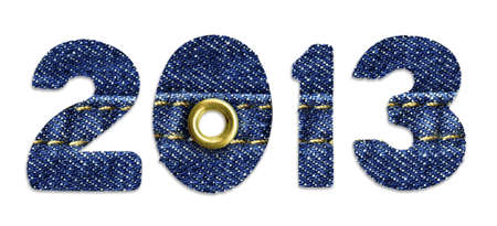 sewed: The New Year 2013 - blue jeans fonts, isolated over white background Stock Photo