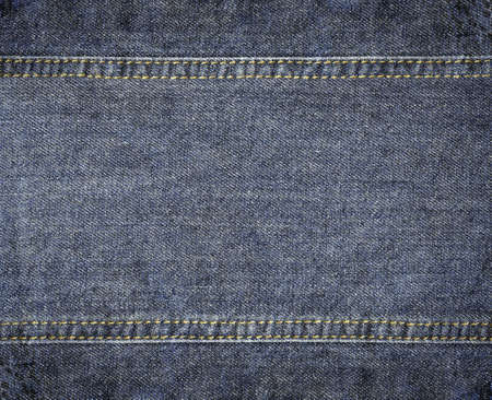 western border: Highly detailed worn denim texture - abstract dirty blue jeans background with double threads seam
