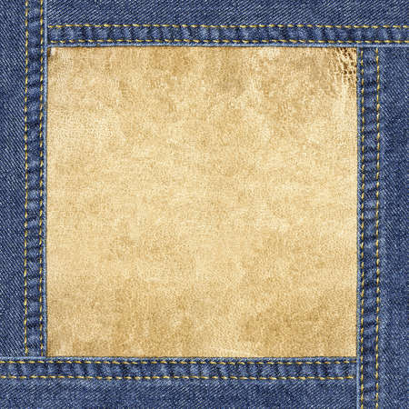 seam: Leather background framed in blue denim Stock Photo