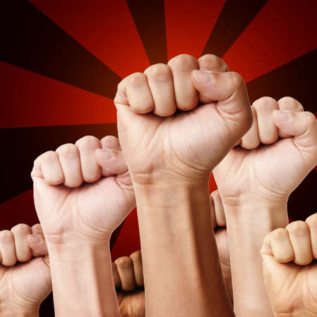revolt: Designed illustration - raised up clenched fists of different ethnicity