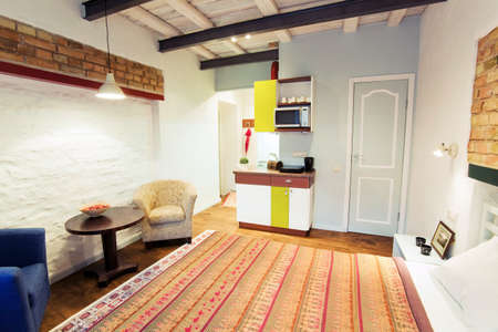 kitchenette: The interior of a cozy studio-type guest house  Stock Photo