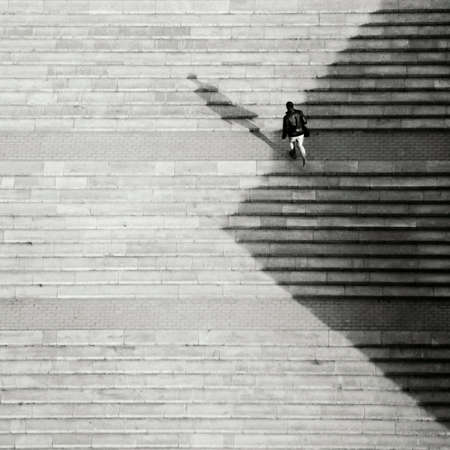 up: Man going up by stairs