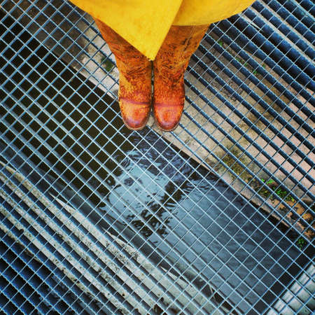 wear: Foot in yellow boots