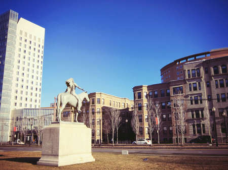 back: Famous Indian and horse statue in front of museum of arts in Boston Stock Photo