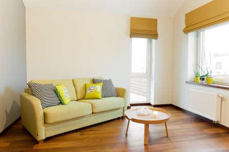 pokoj: Interiér - pohovka v světlé místnosti