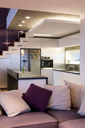 Modern interior - view on a kitchen with a sofa photo