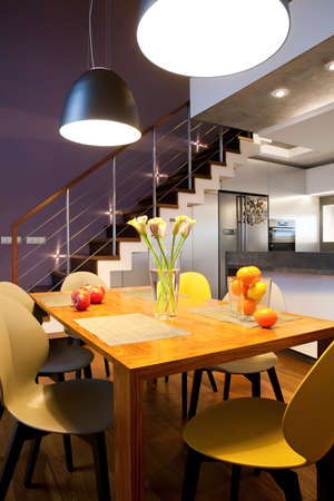 dining room: Interior design - dinning table and chairs in a kitchen