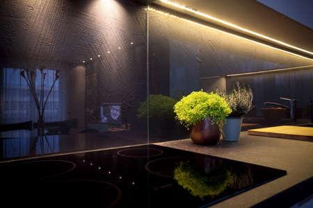 Detail of interior - modern kitchen and ceramic stove Stock Photo