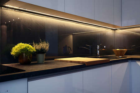 Detail of interior - modern kitchen tabletop and ceramic stove