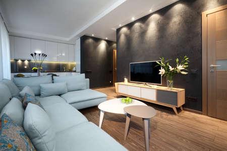 Interior - diseño moderno de una sala de estar en un pequeño apartamento Foto de archivo