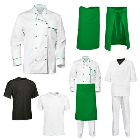 chef kitchen: The set of white and green chef cooks clothes with gray and black t-shirt, isolated over white background