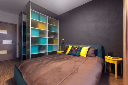 aquamarine: Modern interior of a private bedroom in solid colors