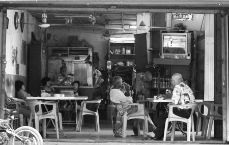 View of an old classic baba nyonya chinese restaurant at Malacca Town Editorial