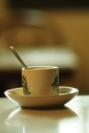 A traditional Chinese tea cup with a spoon on a table photo