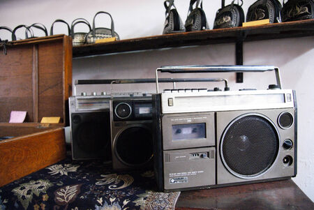 Two stylish boombox radio from the 1970 s set as decoration