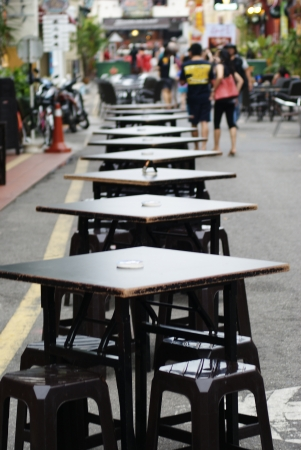 Lines of empty tables awaiting customer at Jonker Walk, Malacca
