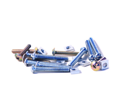 Set of multi sizes machine screws with square nuts isolated on white background photo