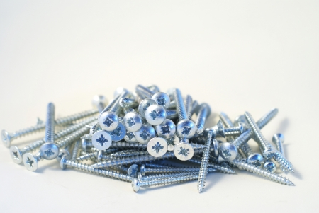A group of screws isolated on white background