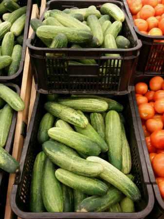 Mediterranean cucumber piled for retail at the market Stock Photo