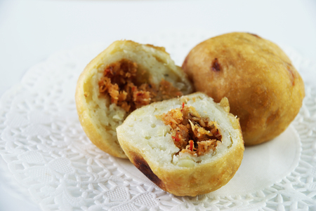 titbits: Malay traditional food - Cucur Badak, sweet potato with coconut filling ball