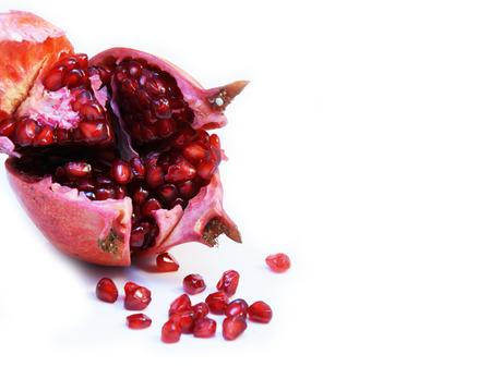 fallen fruit: Cut open ripe Pomegranate fruit or Buah Delima