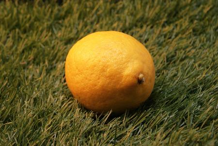 A lemon on a fake grass