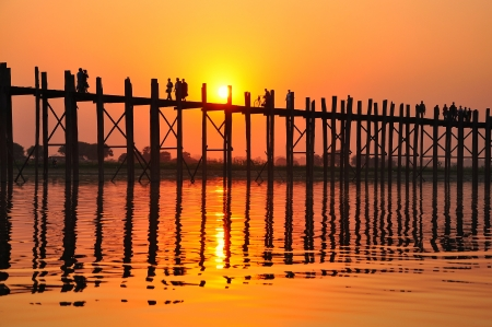 Sunset on U Bein Bridge, Amarapura, Myanmar  Burma  photo