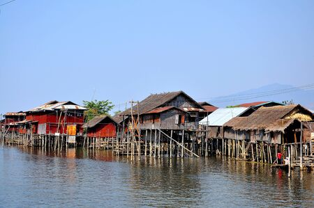 Houses on Inle lake, Myanmar  Burma