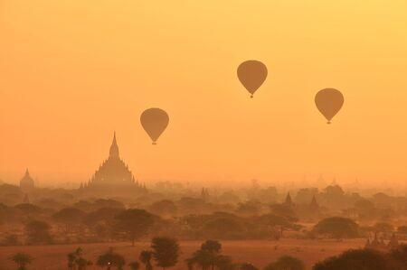 Hot balloons in Sunrise at Bagan, Myanmar Burma Stock Photo - 18807229