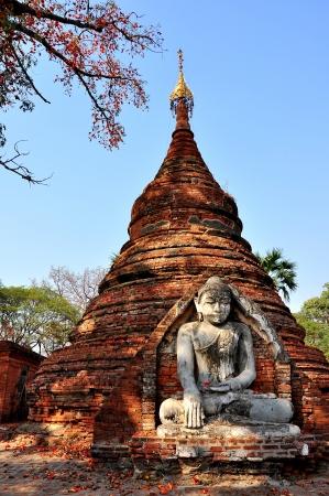 Ancient temple in Inwa village, Myanmar Burma photo